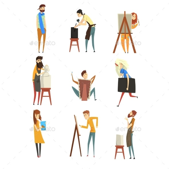 Artist and Sculptors Set - People Characters