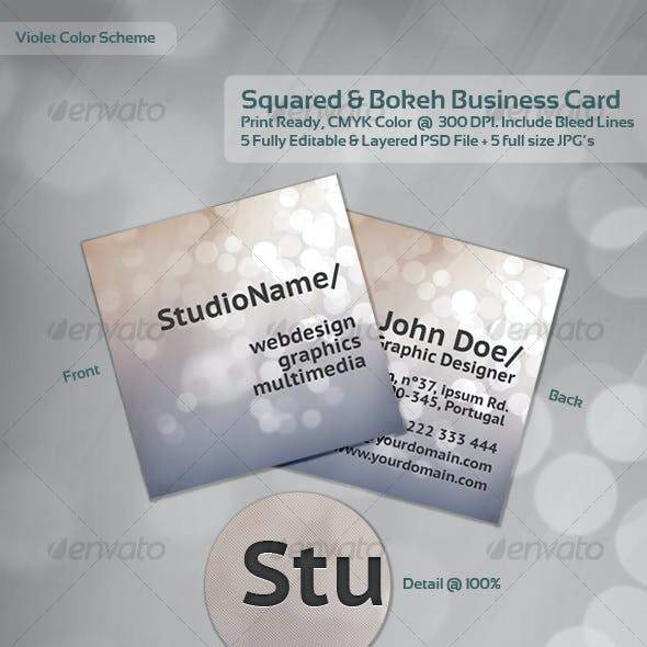 Squared & Bokeh Business Card - 1 Theme / 5 Colors