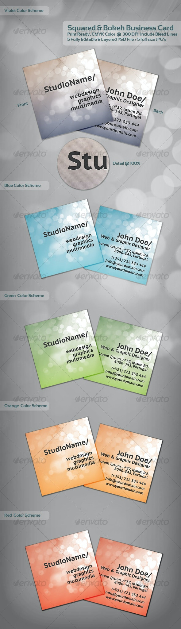 Squared & Bokeh Business Card - 1 Theme / 5 Colors - Creative Business Cards