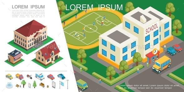 Isometric City Colorful Concept - Miscellaneous Vectors