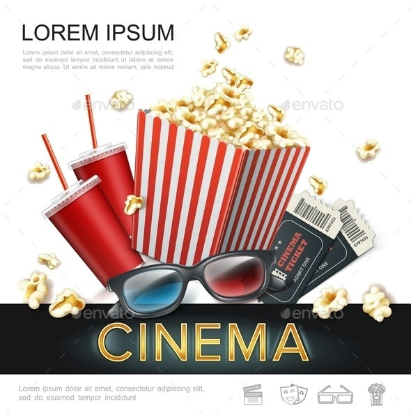 Realistic Cinema Colorful Template - Food Objects
