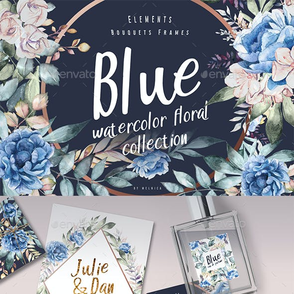 Blue - Watercolor Dark Floral Collection