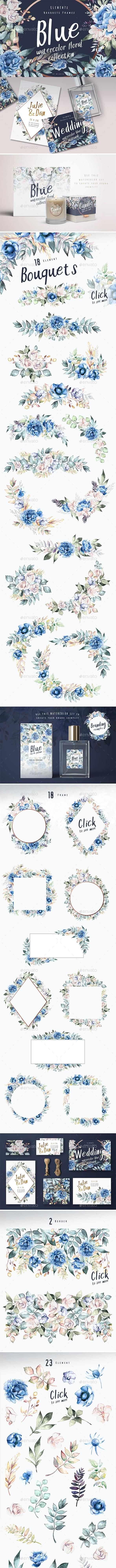 Blue - Watercolor Dark Floral Collection