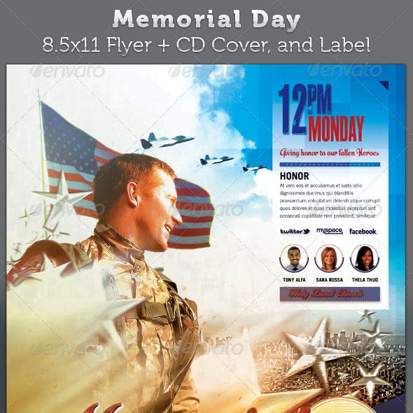 Memorial Day Full Page Flyer and CD Cover