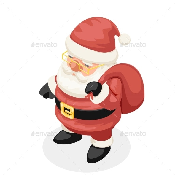 Isometric Christmas Santa Claus New Year - Christmas Seasons/Holidays