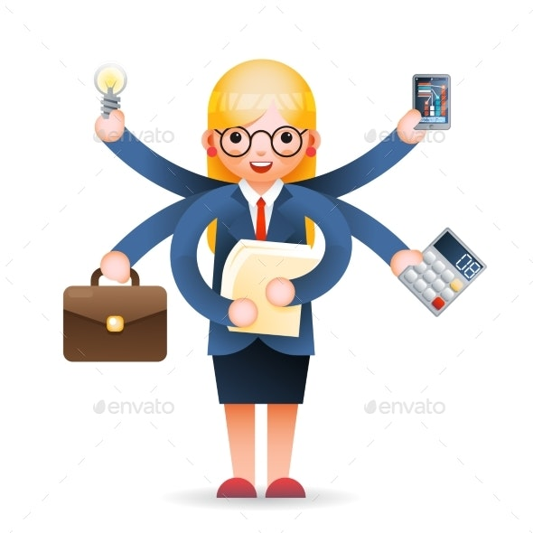 Businesswoman Multitasking Professional - Concepts Business
