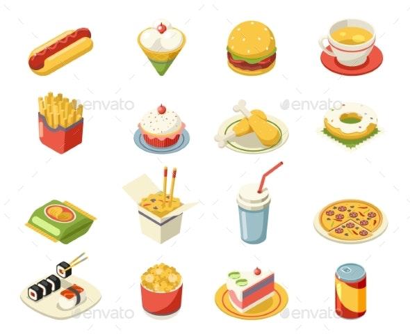 Isometric Fast Food Icons Set Flat Design - Food Objects