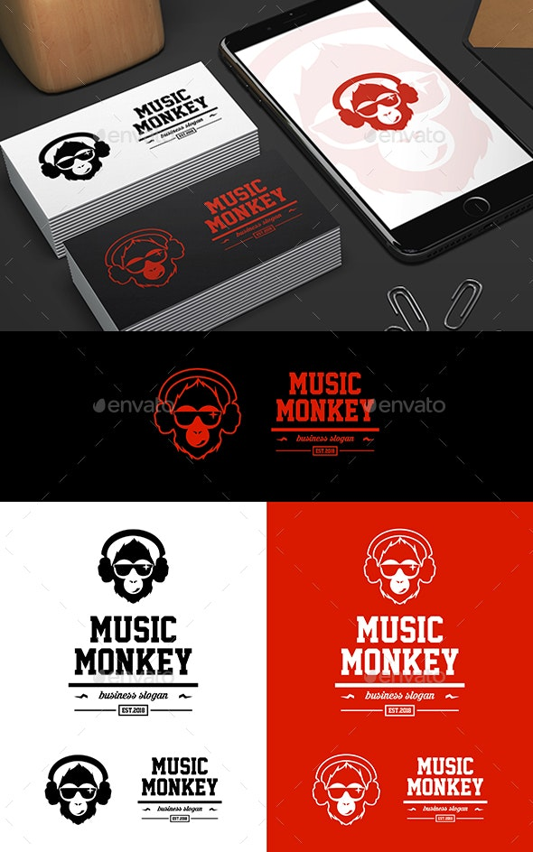 Monkey Head with a Headphones - Animals Logo Templates