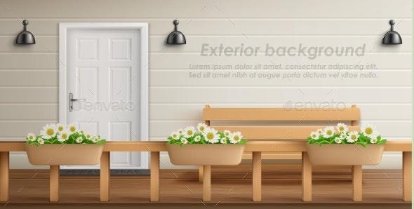 Vector Exterior Background with Veranda Facade - Backgrounds Decorative
