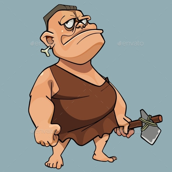 Cartoon Man in Stone Age Dress - People Characters