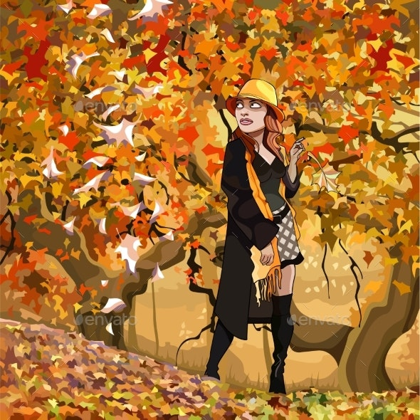 Cartoon Woman Walking in the Autumn Forest - People Characters