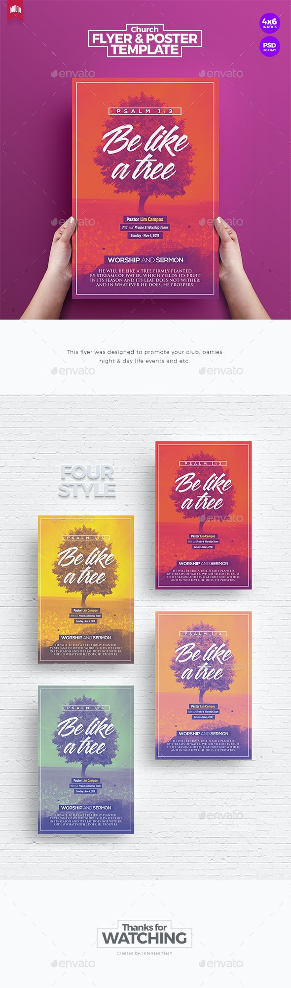 Be Like A Tree - Church Flyer Template - Church Flyers