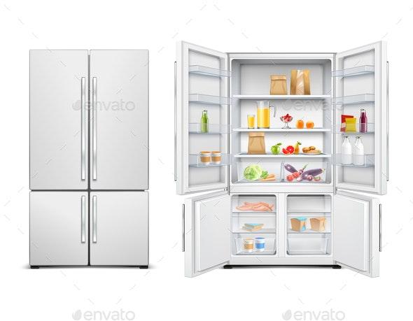Family Fridge Realistic Set - Food Objects