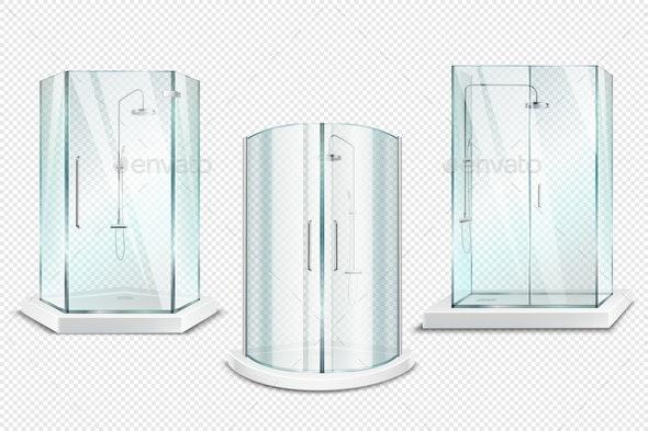 Shower Stalls Realistic Set - Miscellaneous Vectors