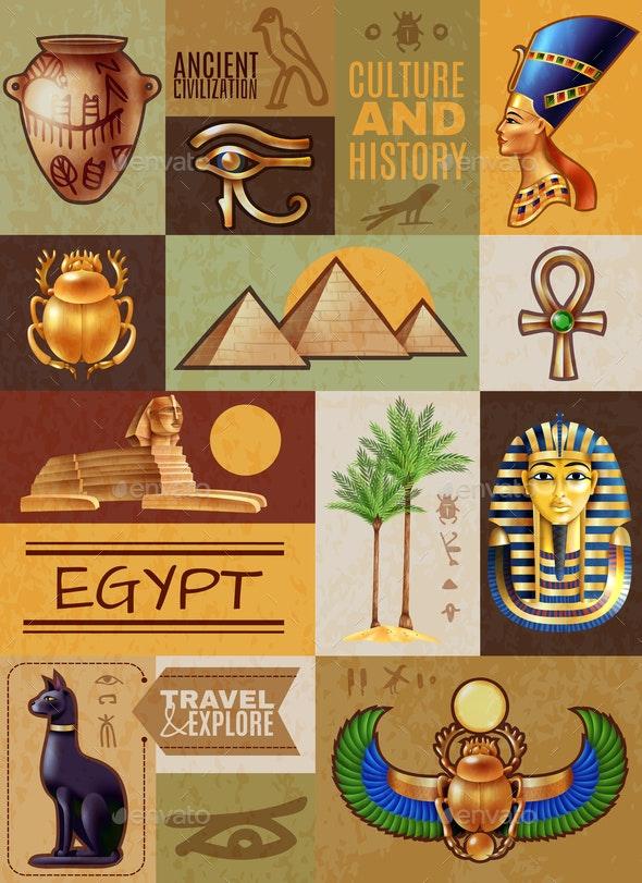 Egypt Symbols Poster - Miscellaneous Vectors