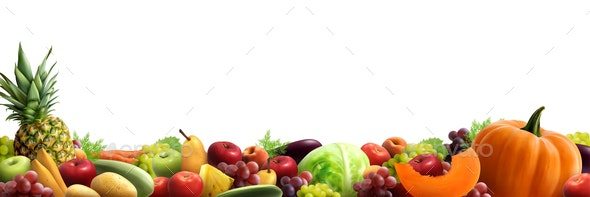 Fruits and Vegetables Horizontal Composition - Food Objects