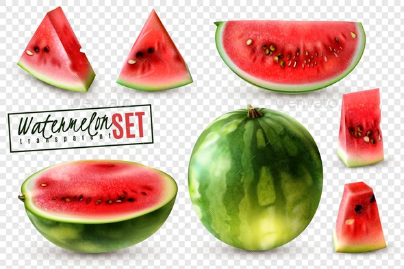 Watermelon Realistic Transparent Set - Food Objects