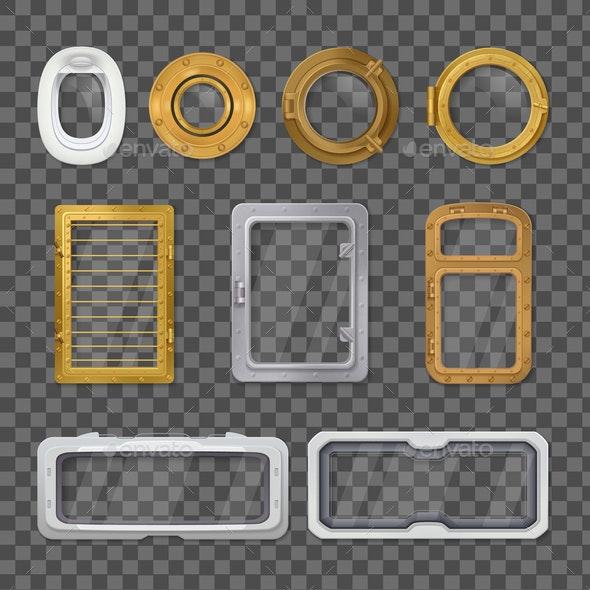 Porthole Realistic Transparent Icon Set - Miscellaneous Vectors