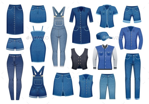 Denim Clothing Icons Set - Man-made Objects Objects