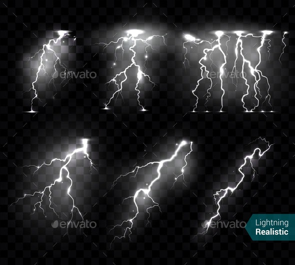 Thunderbolts White Transparent Set - Abstract Conceptual