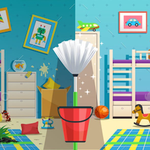Messy Children Room Before After