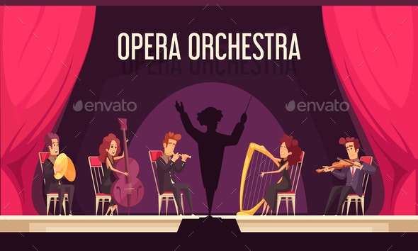 Theater Orchestra Performance Flat - Miscellaneous Vectors
