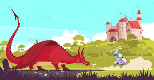 Castle Dragon Knight Illustration - Miscellaneous Vectors