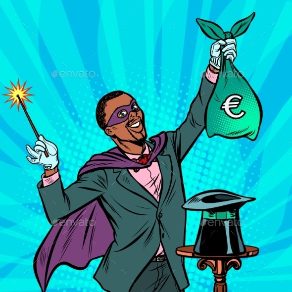 African Magician with Euro Money - Business Conceptual
