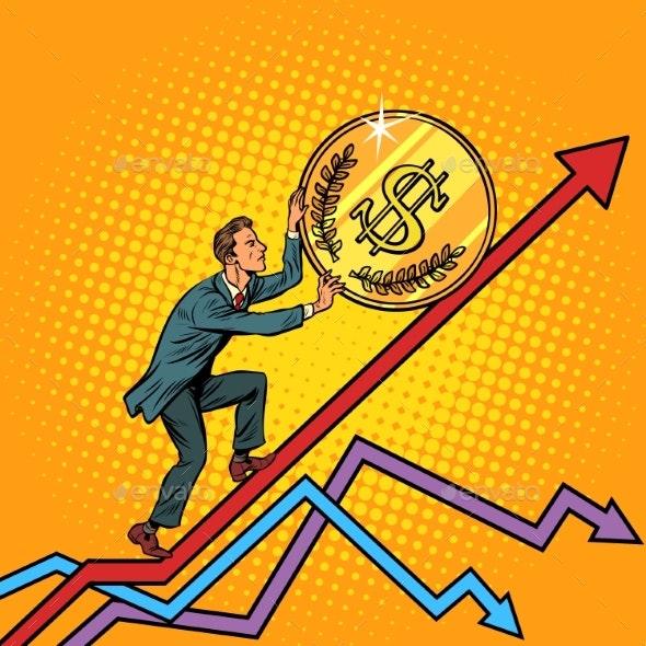 Businessman Roll a USA Dollar Coin Up - Business Conceptual