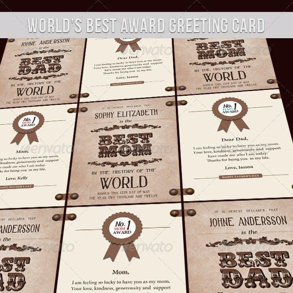 Greeting Card - World Best Award