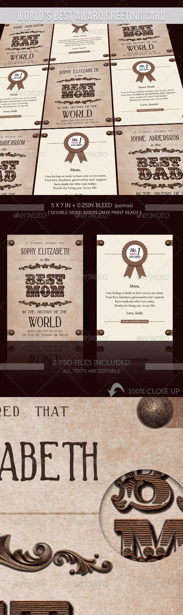 Greeting Card - World Best Award - Holiday Greeting Cards