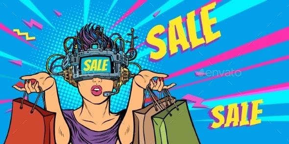 Woman Shopping on Sale. Virtual Reality - Business Conceptual