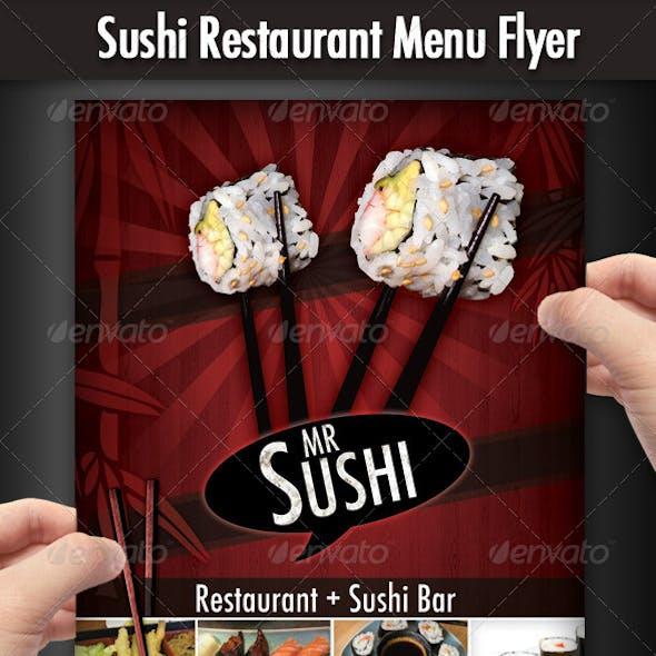 Sushi Restaurant Menu Flyer