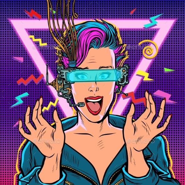 Joyful Woman in VR Glasses