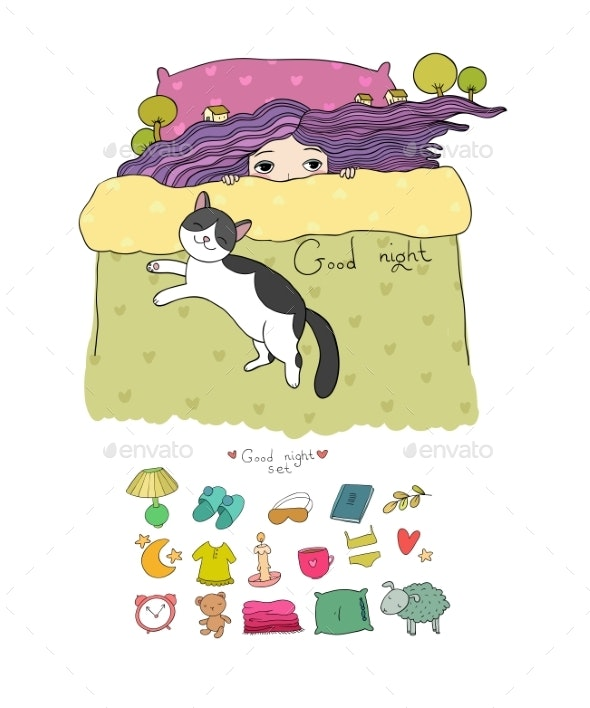 Girl and Cats. Set for Sleep. Vector Illustration - Animals Characters