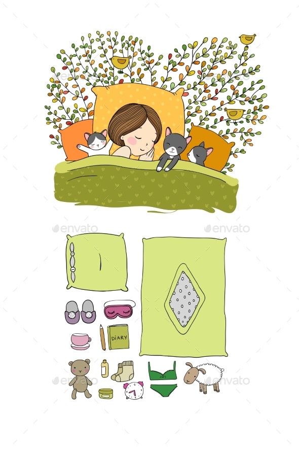 Girl and Cats Sleep in Bed. Good Night. Sweet - Animals Characters