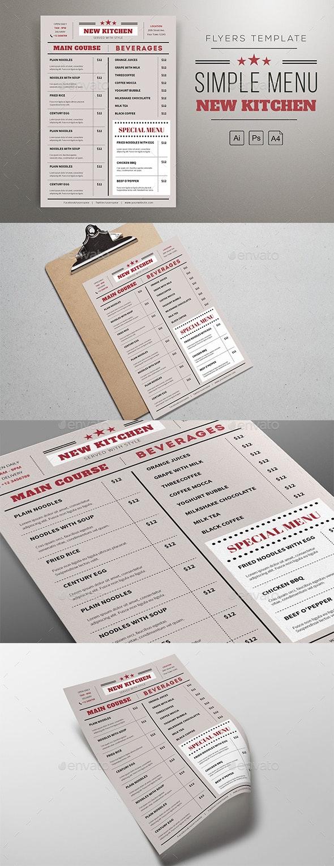 Flat Menu Resto - Food Menus Print Templates