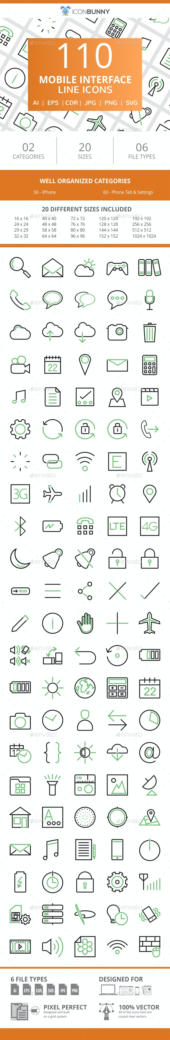 110 Mobile Interface Line Green & Black Icons - Icons