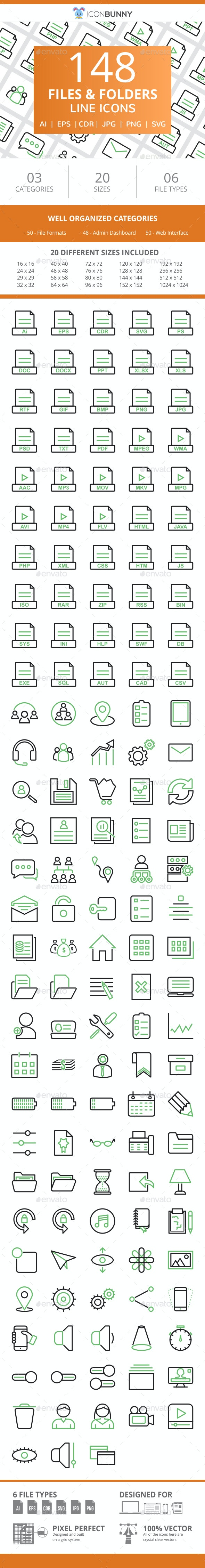 148 Files & Folders Line Green & Black Icons - Icons
