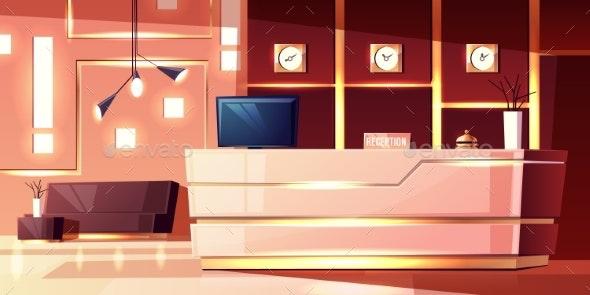 Vector Cartoon Hotel Reception - Buildings Objects