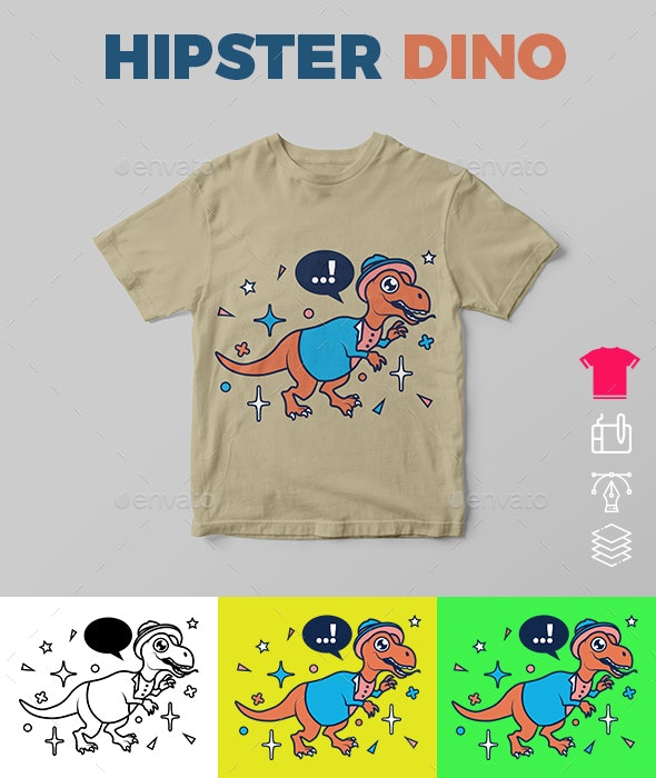 Hipster Dino - Funny Designs