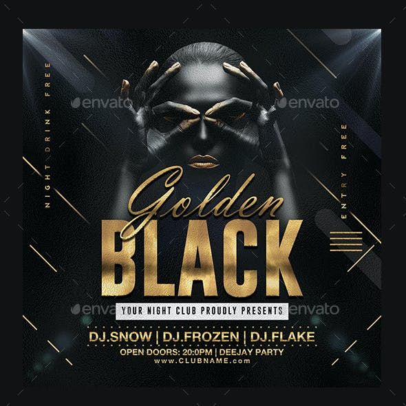 Golden Black Party Flyer