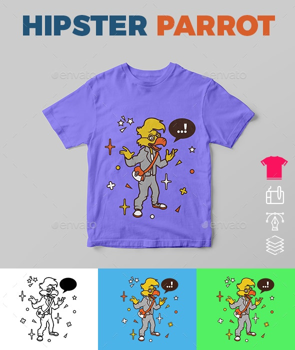 Hipster Parrot - Funny Designs