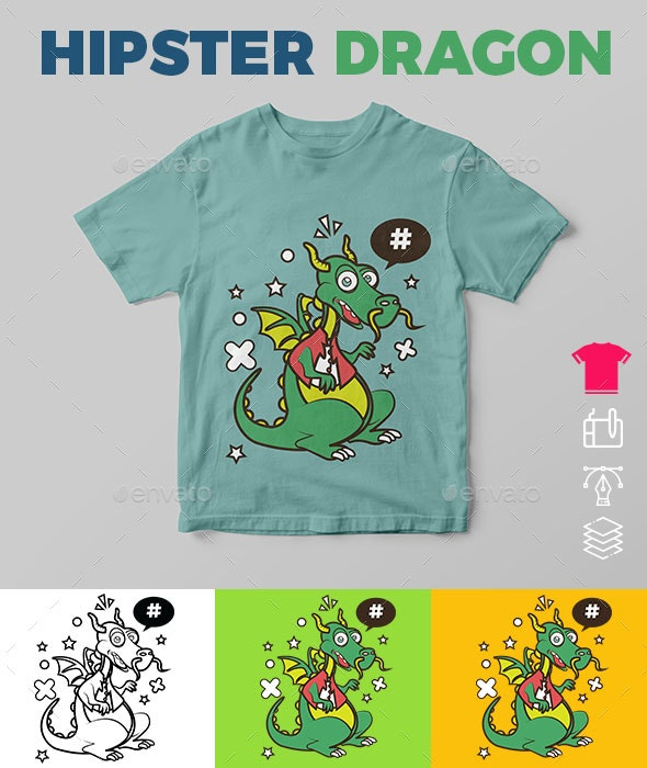 Hipster Dragon - Funny Designs