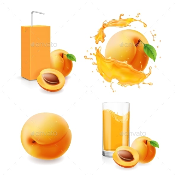 Apricot Juice Collection in Splash - Food Objects