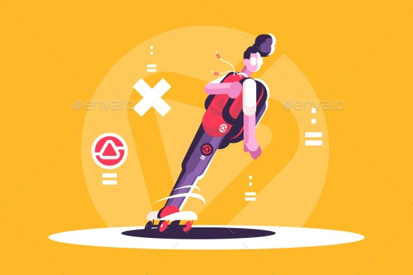 Hipster Man Riding Skateboard - Sports/Activity Conceptual