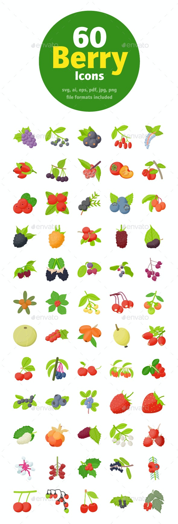 60 Berry Fruits Flat Icons - Food Objects