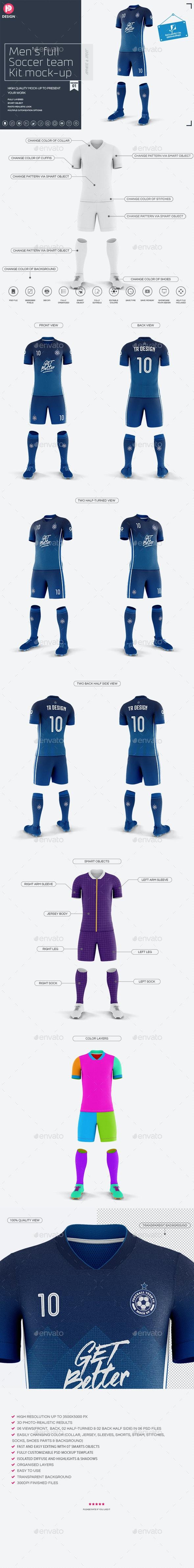 Men's Full Soccer Team Kit Mockup V1 - Miscellaneous Product Mock-Ups