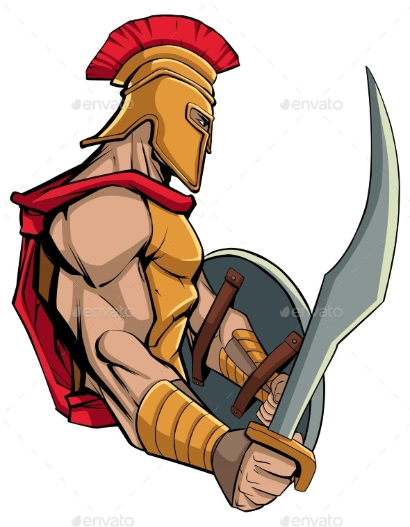 Spartan Warrior Mascot - People Characters