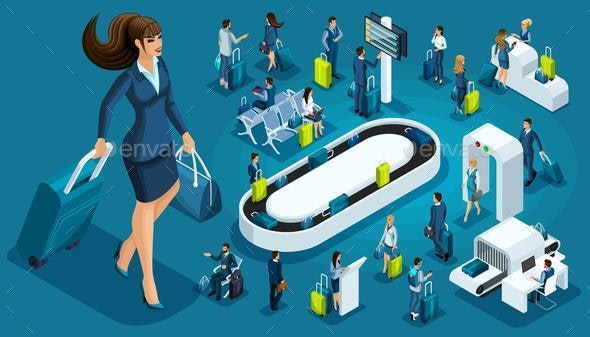 Isometric Set of International Airport Icons - Business Conceptual